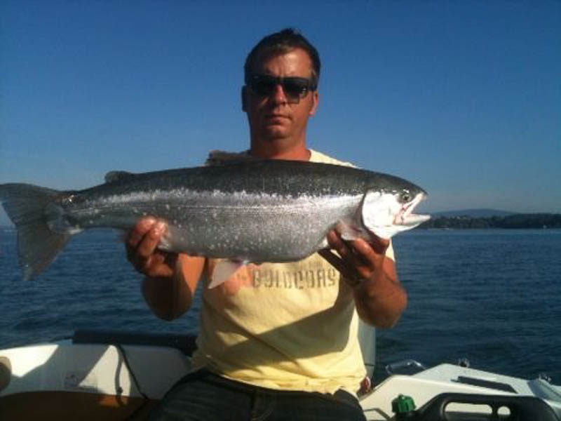Ingo mit Regenbogenforelle 65cm 3,5kg